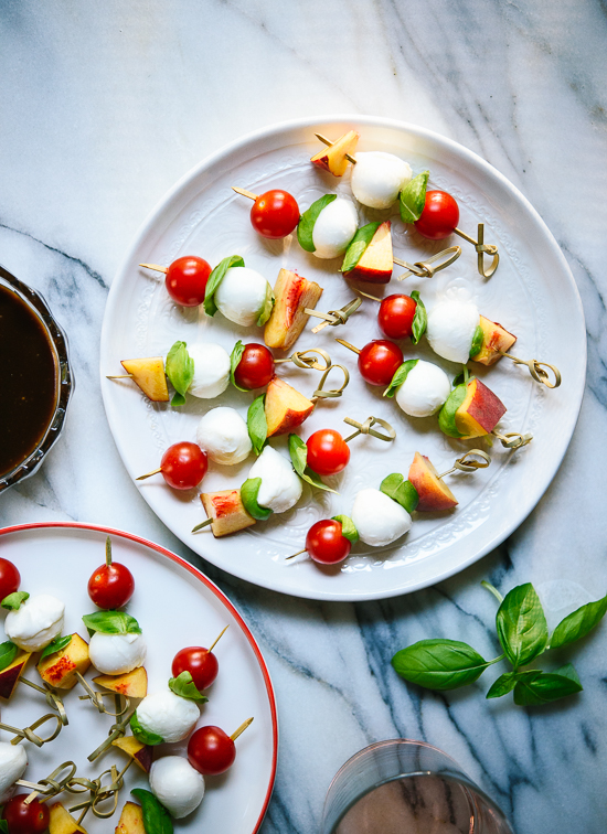 Caprese skewer bites with peaches