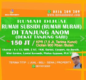 """Dijual Rumah Subsidi Pemerintah Murah (""""Rumah Jokowi"""") di Tanjung Anom / Tj Sari <del>Rp 200Juta </del> <price>Rp. 150 Juta (NET/NO NEGO) </price> <code>rumahmurahsubsididitanjunganom-PSC2</code>"""