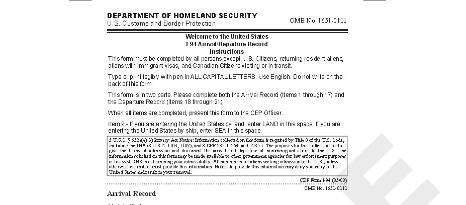 PDF-U.S I-94W Nonimmigrant Visa Waiver Arrival/Departure Record ...