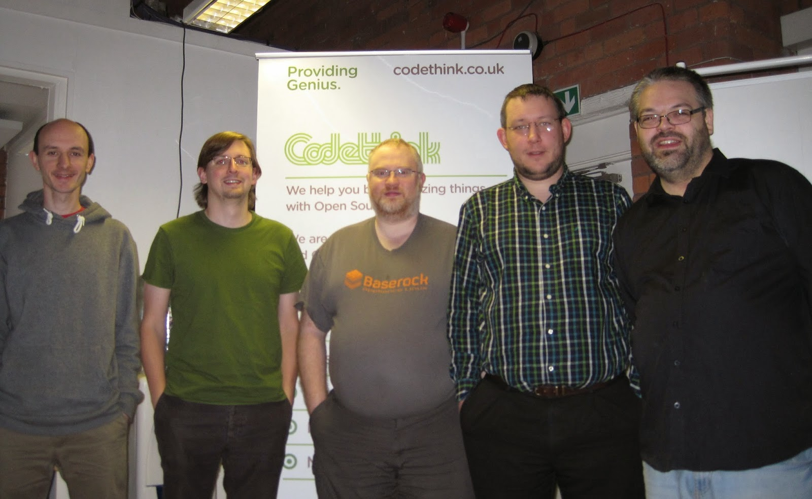 Michael Drake, John-Mark Bell, Daniel Silverstone, Rob Kendrick and Vincent Sanders at the Codethink manchester office