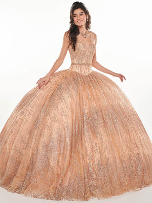 Rose Gold Color Ball Gown Mary's Quinceanera Design Dress