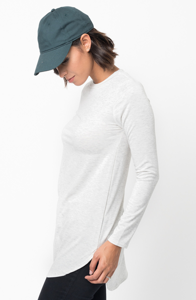 Shop for Light Grey Crew Neck Terry Long Sleeved Tunic New Colors $42 on caralase.com