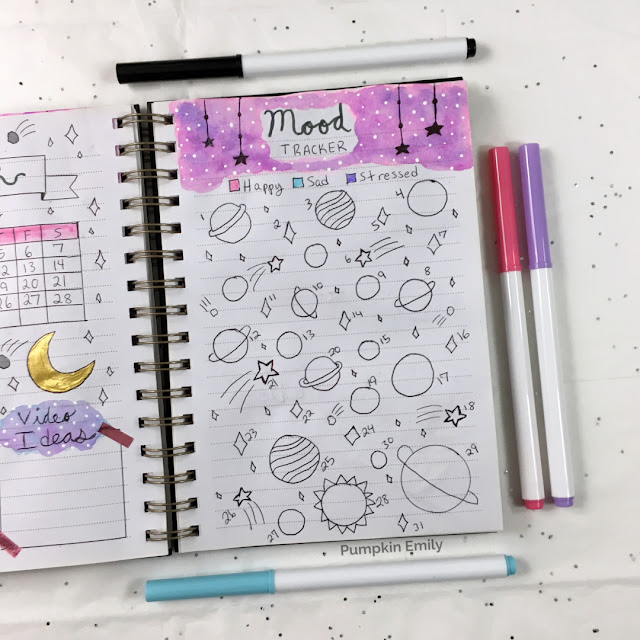 Galaxy Mood Tracker for Bullet Journal