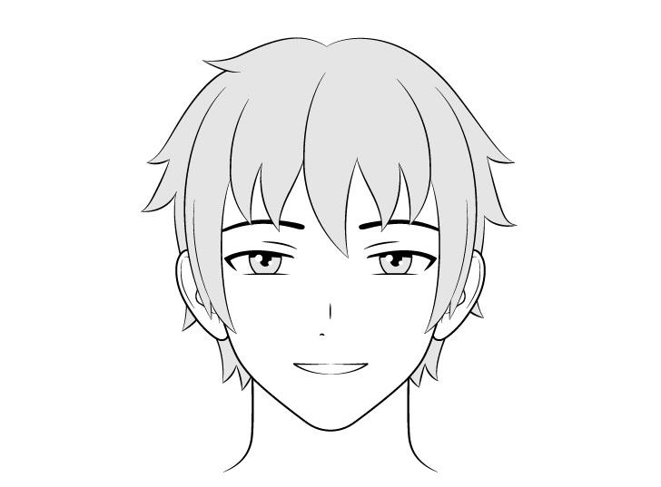 Orang anime menggambar wajah bahagia