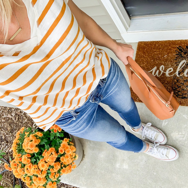 Early fall outfit | Orange striped t-shirt