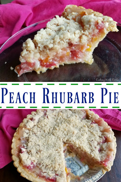 Peach rhubarb pie combines the tart taste of spring with summer's sweet fruit. Peach and rhubarb come together under a golden streusel in this perfect fruity pie.
