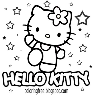 Dancing under the stars cartoon Hello kitty coloring sheet free sweet printable for adolescent girls