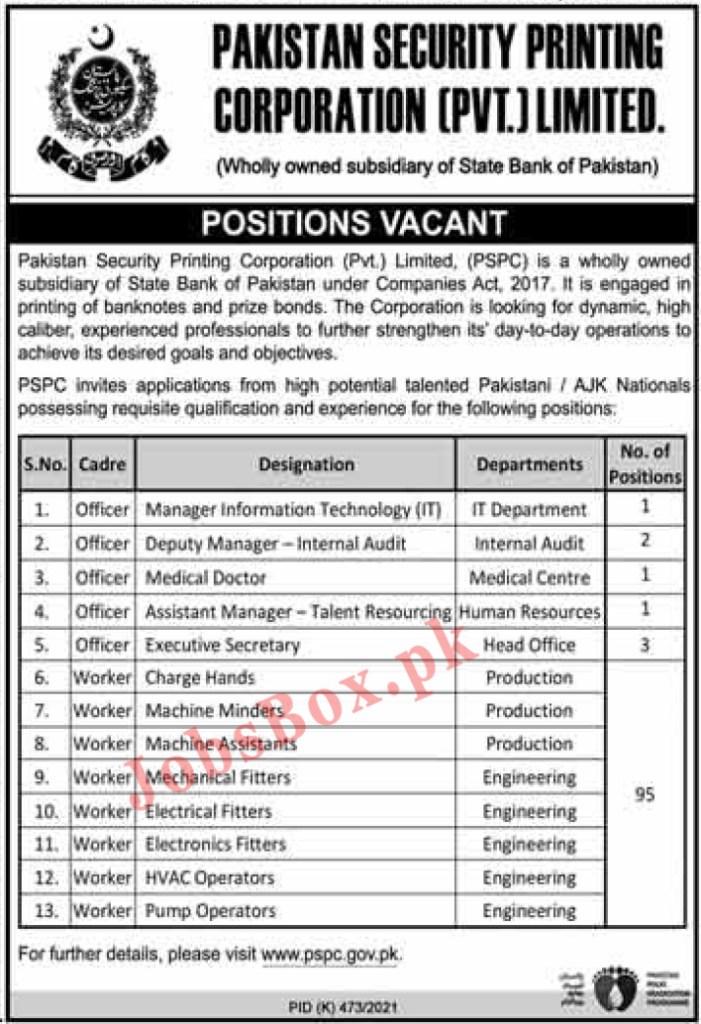 www.pspc.gov.pk - Pakistan Security Printing Corporation PSPC Jobs 2021 in Pakistan