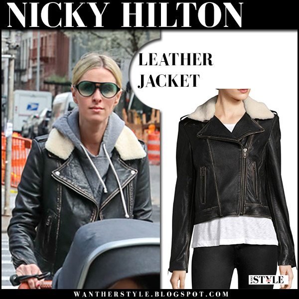 Nicky Hilton in black leather and shearling jacket lamarque donna celebrity street style april 19