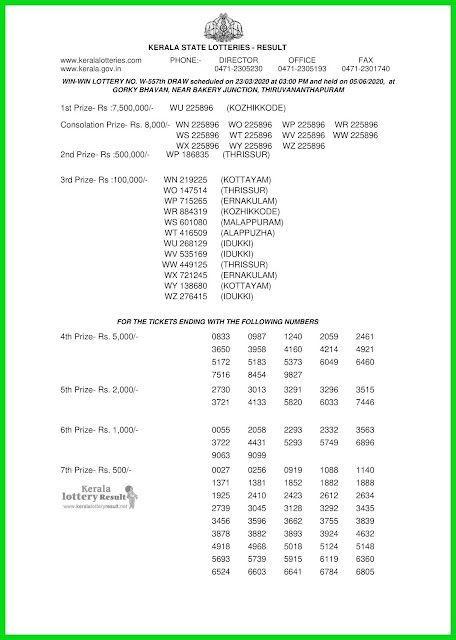 Kerala Lottery Result 23.03.20 Win Win W-557 Lottery Result held on 05.06.2020