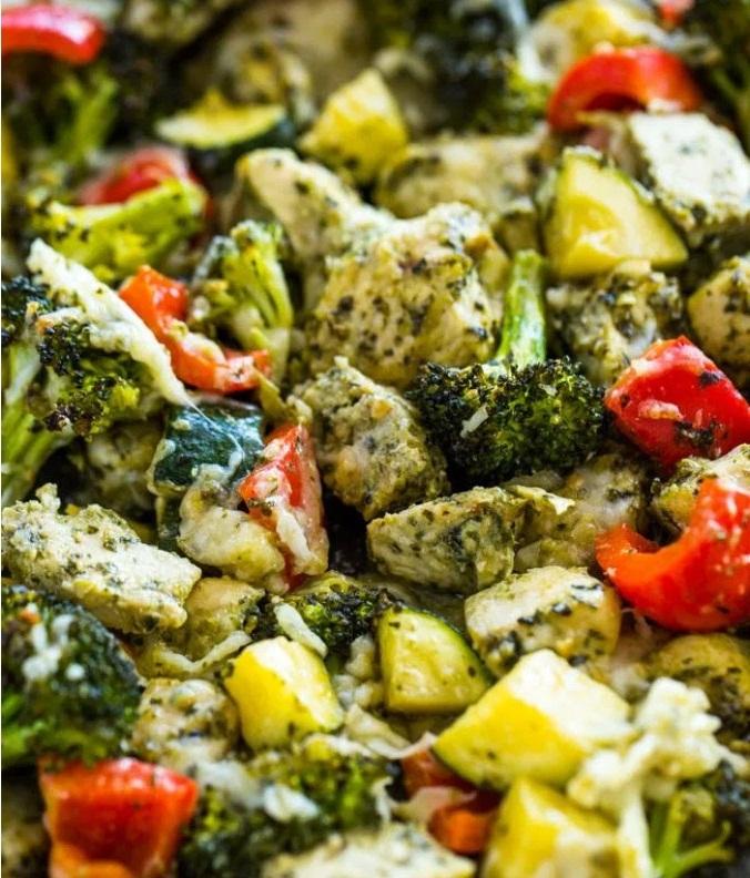 20 Minute Sheet Pan Pesto Chicken and Veggies