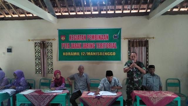 Koramil 12/Manisrenggo Lakukan Pembinaan Peta Jarak Jaring Teritorial