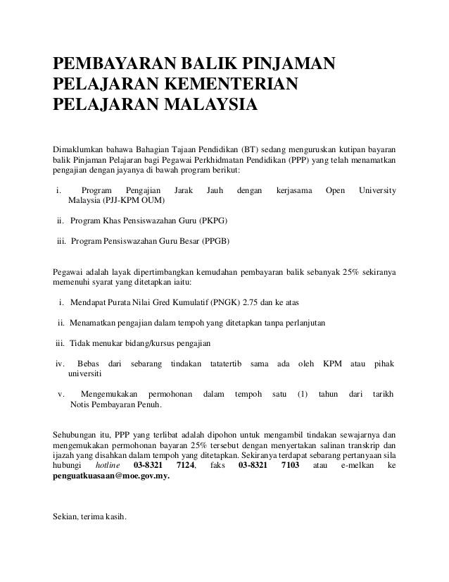 Contoh Surat Rayuan Pengurangan Bayaran hutang