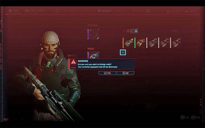Cyberpunk 2077: Weapon / Armor Mods - How Do I Replace Them? Screenshot 3