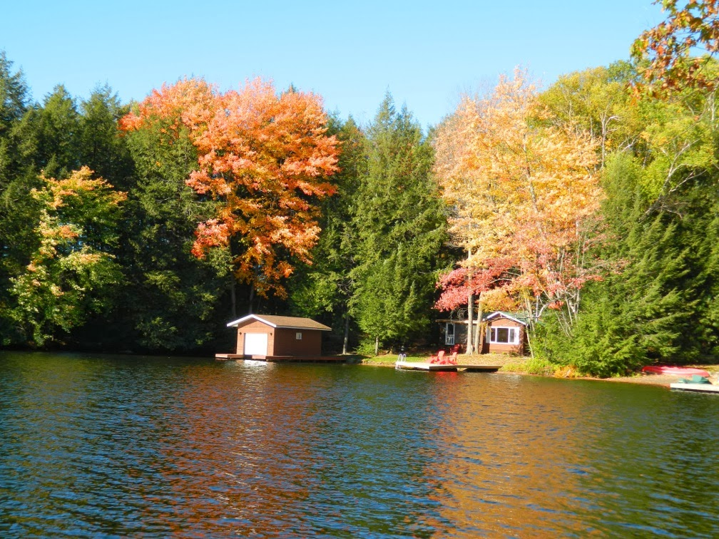 Muskoka fall colours boathouse by garden muses--a Toronto gardening blog