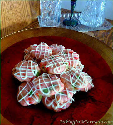 Cherry Lime Holiday Shortbreads, a shortbread cookie celebrating the colors of the season with maraschino cherries and lime candies | Recipe developed by www.BakingInATornado.com | #recipe #cookies
