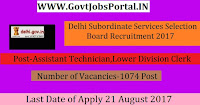 Delhi Subordinate Services Selection Board Recruitment 2017– 1074 Lower Division Clerk, Statistical Assistant