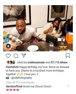 """""""My Chiom Chiom"""" Davido Responds As Chioma Celebrates Him On Instagram"""