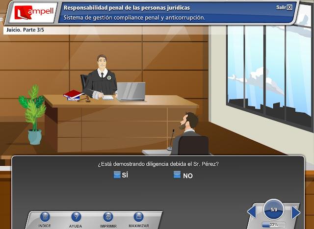 Captura de pantalla de  un curso gamificacion compliance penal