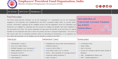 EPFO website Employees page