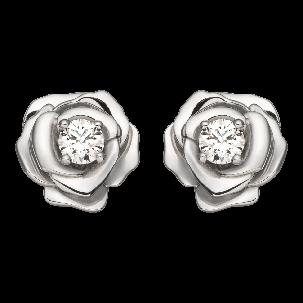 Bông tai Vàng trắng 10K đính đá ECZ Swarovski PNJ Hoa Hồng XM00W000134