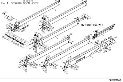 Đốt cần, xylanh ra vào cần của Cẩu soosan 20 tấn SCS2016