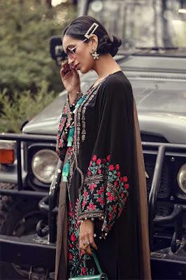 Maria B winter unstitched linen Black Color dress