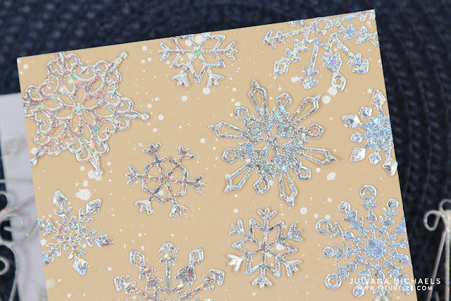 Snowflake Card by Juliana Michaels featuring No Heat Foil Technique with Die Cuts using Spellbinders Dies and Therm O Web Deco Foil
