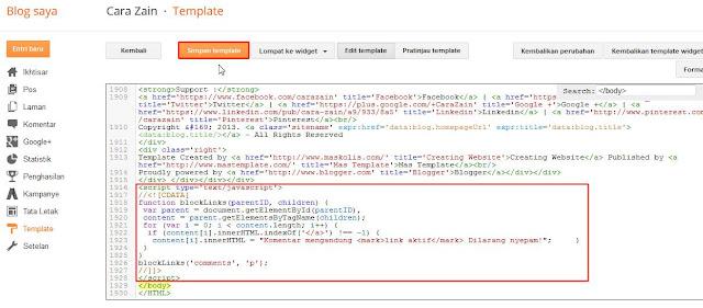 Cara Menghilangkan Link Aktif Di Komentar Blog Terbaru