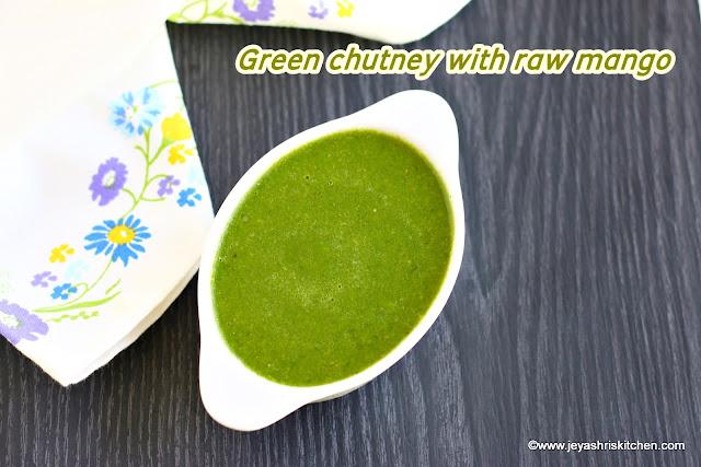 Green chutney with raw mango