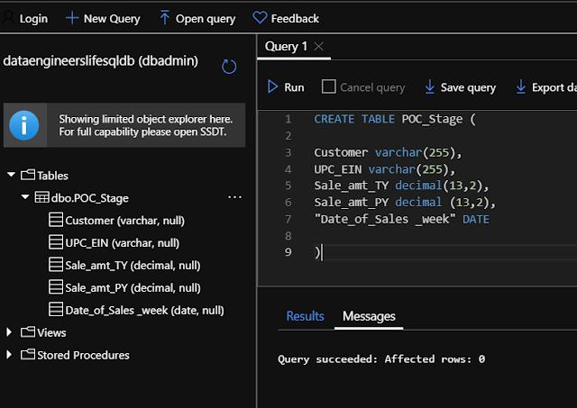 Azure table created through Query Editor