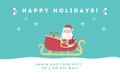Santa image written with Happy holiday, Santa has your gift on you way.