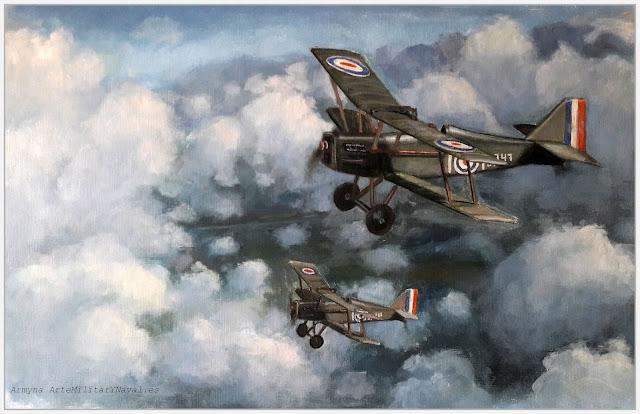 Pintura al óleo de un RAF SE.5 británico de la WWI
