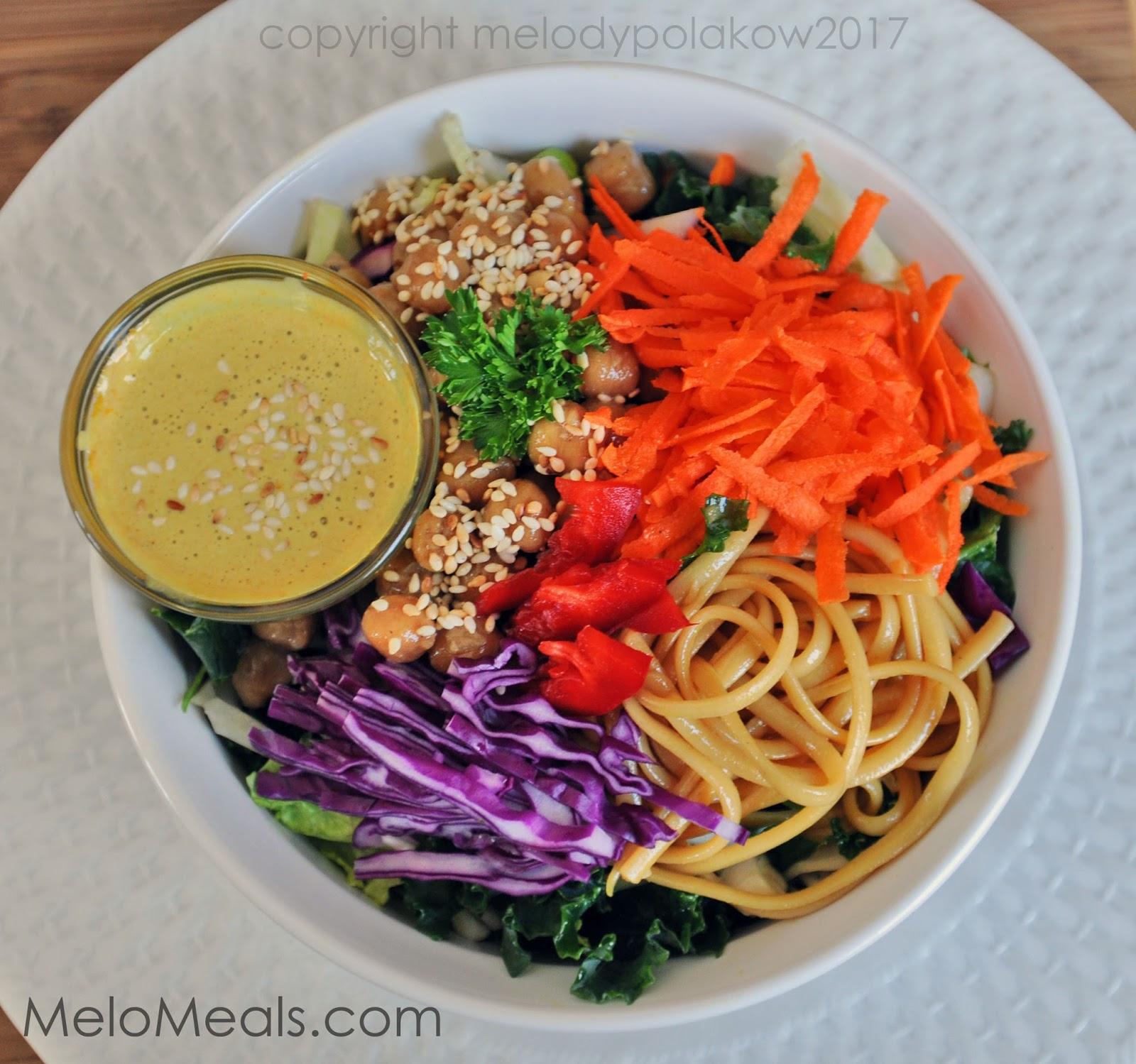 Spiced Chickpeas, Kale, Cabbage, Carrots, Rice Noodles, Sesame-Ginger ...