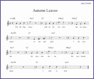 gambar autumn leaves dalam chord musik jazz