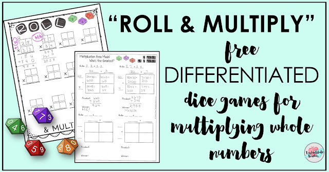 Read on for a look at the 4th and 5th grade leveled continuum for multiplication concepts, a free multiplication dice game, and other ideas for differentiation during your multiplication unit.