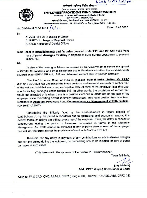 Relief to establishments and Factories covered under EPF 2020