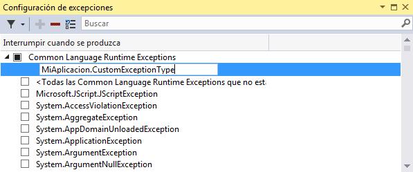 Añadir una excepción a la lista