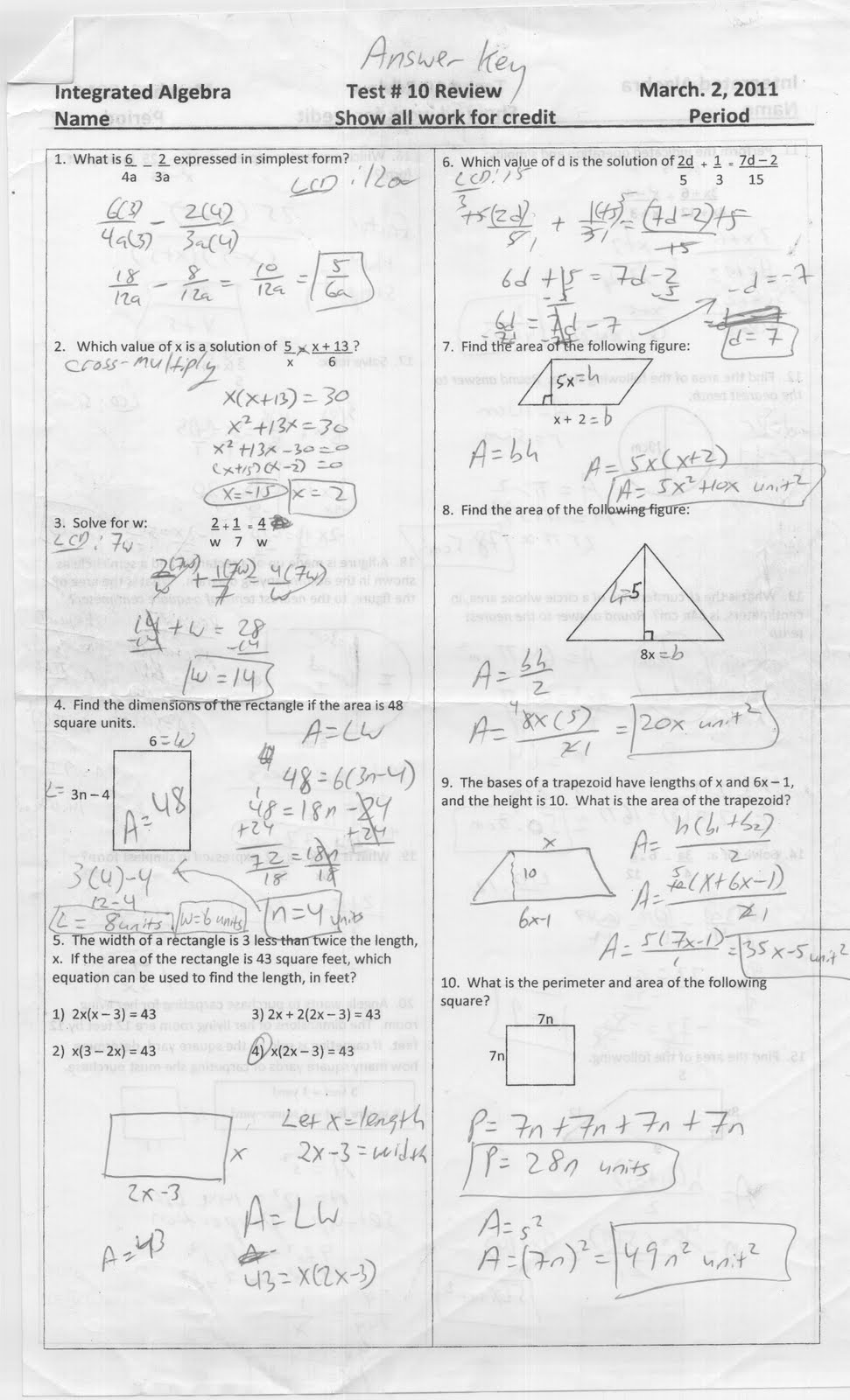 Mr. Napoli's Algebra: Aim: Test 10 Review