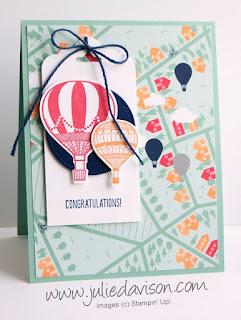 Stampin' Up! Lift Me Up Card + Sale-a-bration 2017 Carried Away Designer Paper for #GDP074 Sketch Challenge www.juliedavison.com