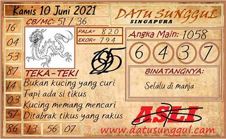 Prediksi Sunggul SGP Kamis 10 Juni 2021