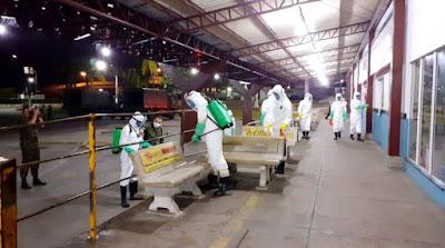 Exército, Marinha, Prefeitura e Defesa Civil realizam desinfecção em espaços públicos de Registro-SP