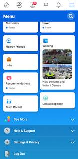 Facebook update menu deisign