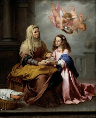 Santa Ana sentada con la Virgen Niña a su lado y dos angelitos