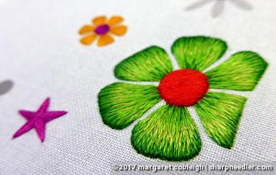 SFSNAD Flower Power Challenge: Bright green thread painted daisy