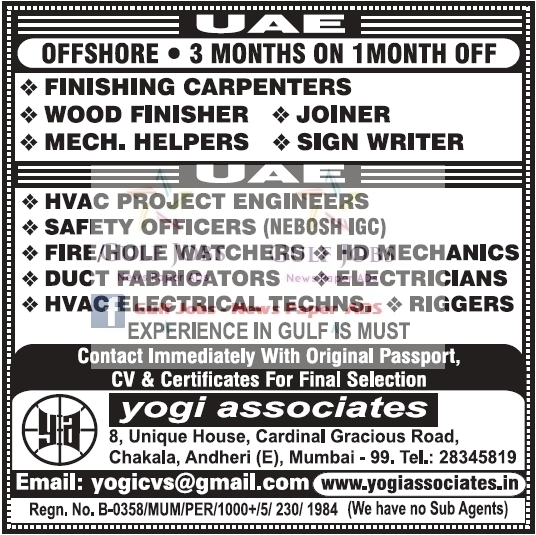 Offshore large Job Opportunities for UAE - LATEST JOBS
