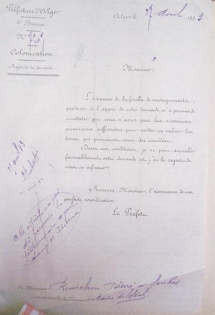Lettre de la Préfecture d'Alger à Monsieur Désiré REVERCHON