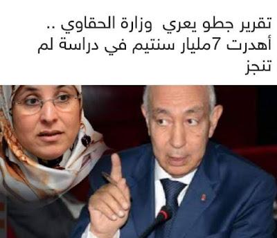 العصا بدأت تقرير جطو يعري وزارة الحقاوي.. اهدرت 7 مليارات في دراسات لم توجز
