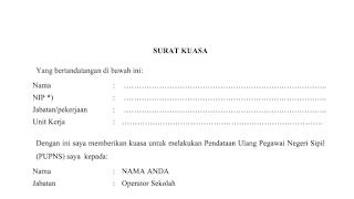 Surat Kuasa Pengisian PUPNS 2015
