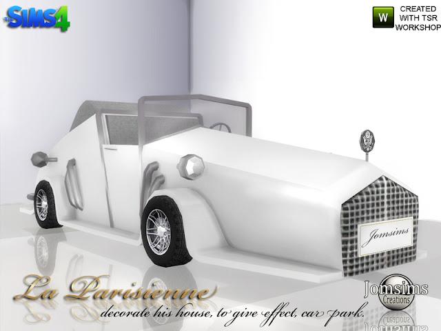decorative car La Parisienne for Sims 4 Автомобиль La Parisienne для The Sims 4 декоративный автомобиль La Parisienne для Sims 4.high deco в 4 цветах и хром. Украсьте, подъезд к вашему дому, с помощью этого автомобиля в старом стиле, и дайте эффект, припаркованный автомобиль Автор: jomsims